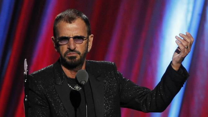 Ringo Starr speaks after his induction during the 2015 Rock and Roll Hall of Fame Induction Ceremony in Cleveland