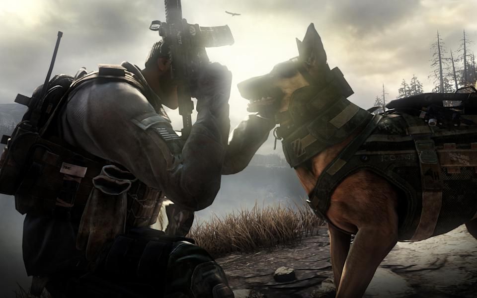 "This photo released by Activision shows Riley, the canine star of the video game, ""Call of Duty: Ghosts."" The new video game isn't due until November 2013, but Riley has already become the breakout star of the military shoot-'em-up. (AP Photo/Activision)"