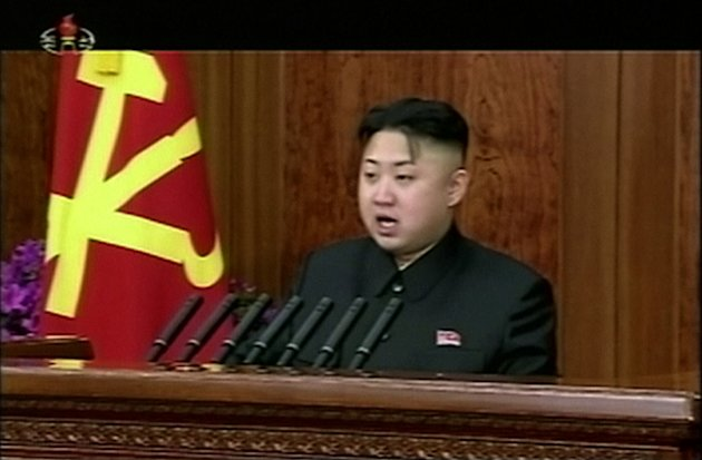 FILE - In this Tuesday, Jan. 1, 2013 file image made from video, North Korean leader Kim Jong Un gives his first speech for the New Year in Pyongyang, North Korea, calling for his country to focus on
