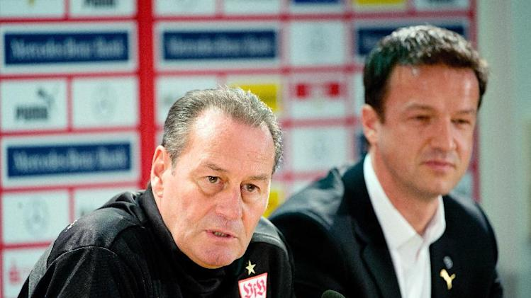 New head coach of German Bundesliga soccer club of VfB Stuttgart, Huub Stevens, and Stuttgart board member Fredi Bobic, right, attend a press conference in Stuttgart, Germany, Monday March 10, 2014. (AP Photo/dpa, Sebastian Kahnert)