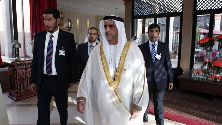 Ministry of Interior Sheikh Saif Bin Zayed Al Nahyan of United Arab Emirates leaves after the meeting of the Arab Interior Ministers Council in Marrakech