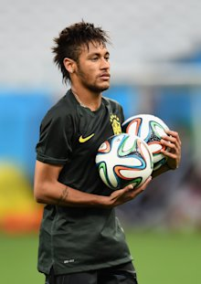 Neymar is very familiar with the Brazuca. He leads the 2014 World Cup with four goals in three games. (Getty)
