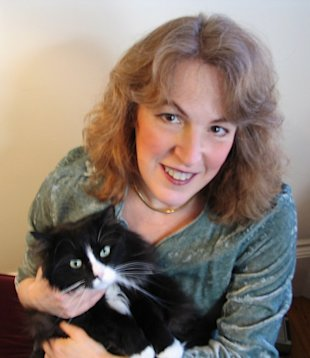 Author Clea Simon with her cat, Musetta.