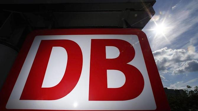 A Deutsche Bahn logo is pictured at the main train station in Mainz