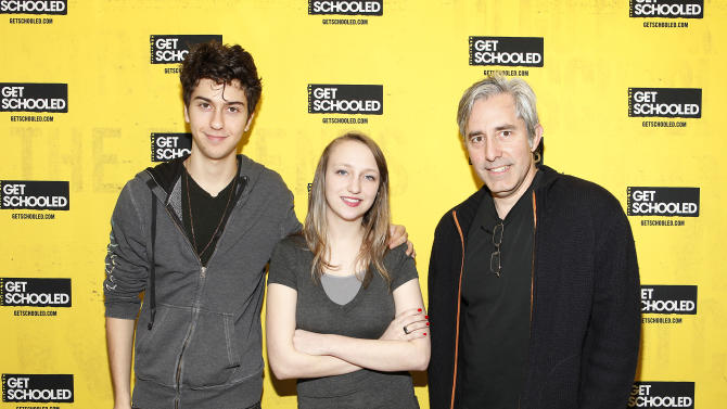 IMAGE DISTRIBUTED FOR GET SCHOOLED - Actor Nat Wolff, student Kit Lucas, from Alaska who demonstrated focus and drive in preparing for college as part of the Future Forward Challenge, and director Paul Weitz of ADMISSION pose at the GET SCHOOLED special screening of ADMISSION and Q&A at the Bronx Validus Preparatory School on Wednesday, March, 6, 2013 in New York City, New York. (Photo by Amy Sussman/Invision for Get Schooled/AP Images)