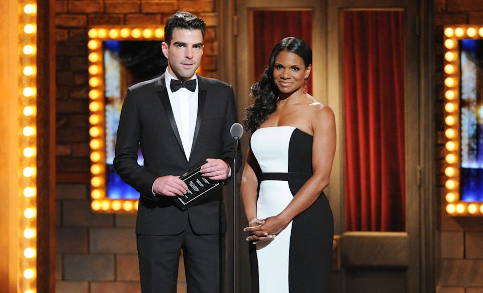 Actor Zachary Quinto, left, and actress, Audra McDonald present the Best Performance by an actor in a featured role in a play award at the 67th Annual Tony Awards, on Sunday, June 9, 2013 in New York.  (Photo by Evan Agostini/Invision/AP)