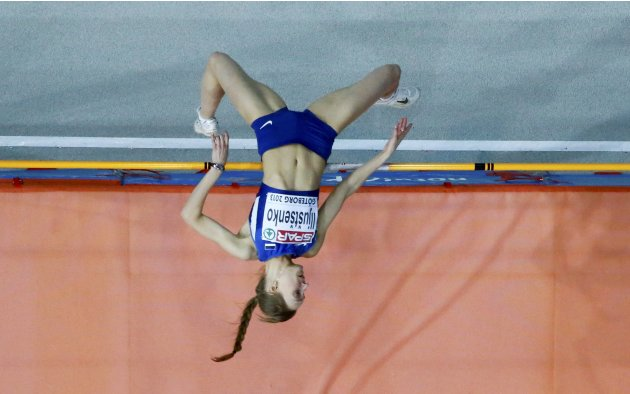 Iljustsenko of Estonia competes in the High Jump Women Final at the European Athletics Indoor Championships in Gothenburg