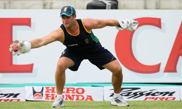 DURBAN, SOUTH AFRICA - DECEMBER 24:  Mark Boucher during the South African national cricket team training session at Sahara Stadium, Kingsmead on December 24, 2010 in Durban, South Africa (Photo by An