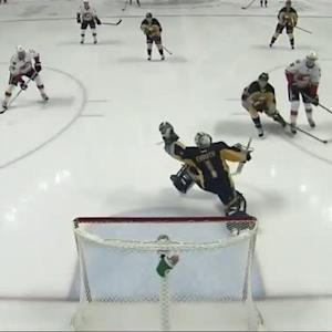Jhonas Enroth gloves down Colborne's shot