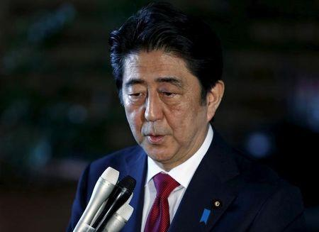 Japan's Prime Minister Abe speaks to reporters after meeting with Mori, Japan's former Prime Minister and president of the Tokyo 2020 Organizing Committee of Olympic and Paralympic games, at Abe's official residence in Tokyo