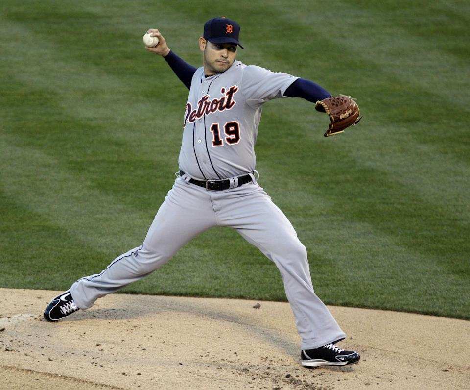 Detroit Tigers starter Anibal Sanchez delivers a pitch in the first inning of Game 3 of the Tigers' American League division baseball series against the Oakland Athletics in Oakland, Calif., Tuesday, Oct. 9, 2012. (AP Photo/Eric Risberg)