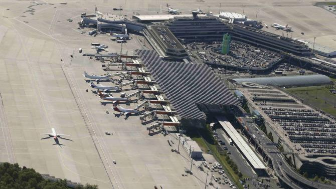 An aerial picture shows the Konrad Adenauer airport of Cologne-Bonn near the North Rhine-Westphalian city of Cologne