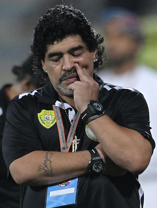 UAE's Al-Wasl Club Coach Diego Maradona Reacts  AFP/Getty Images