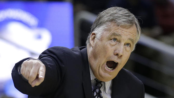 California head coach Mike Montgomery gestures during the first half of a second-round game in the NCAA college basketball tournament against UNLV in San Jose, Calif., Thursday, March 21, 2013. (AP Photo/Jeff Chiu)