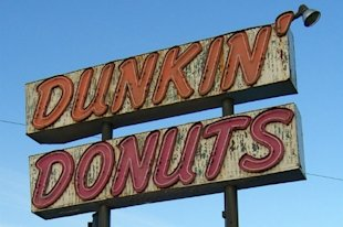 An original Dunkin' Donuts sign in Allston, Mass.