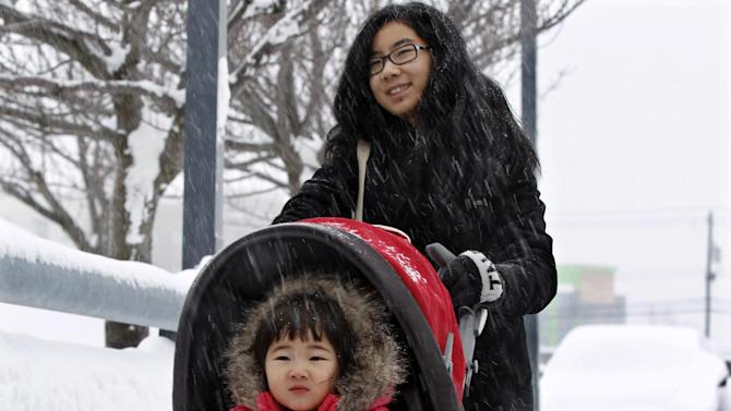 Cindi Ding, of Toronto, pushes her sister Karolynn Ding in a snowfall at Buffalo Niagara International Airport in Buffalo, N.Y., Saturday, Dec. 29, 2012, as they arrive for a flight to Miami. A mild but widespread winter storm has developed over the Northeast and the upper Ohio River Valley, the second in less than a week for the regions. (AP Photo/Mel Evans)