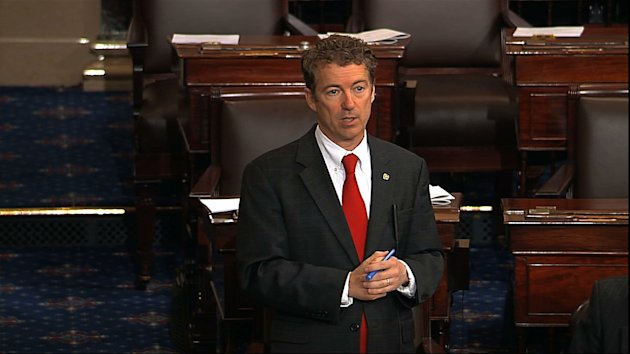 This video frame grab provided by Senate Television shows Sen. Rand Paul, R-Ky. speaking on the floor of the Senate on Capitol Hill in Washington, Wednesday night, March 6, 2013, shortly before 10 p.m. EST. Paul was still going strong with his self-described filibuster blocking confirmation of President Barack Obama's nominee John Brennan to lead the Central Intelligence Agency. (AP Photo/Senate Television)