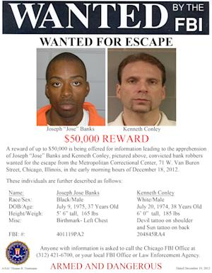 This image provided by the FBI shows the wanted poster for Jose Banks, left, and, Kenneth Conley, two inmates who escaped from the Metropolitan Correctional Center in downtown Chicago Tuesday, Dec. 18, 2012. Chicago Police Sgt. Michael Lazarro says their disappearance was discovered at about 8:45 Tuesday morning. Lazarro says the pair used a rope or bed sheets to climb from the building. (AP Photo/FBI)
