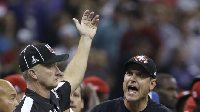 San Francisco 49ers head coach Jim Harbaugh reacts to a call during the second half of the NFL Super Bowl XLVII football game against the Baltimore Ravens, Sunday, Feb. 3, 2013, in New Orleans. (AP Photo/Mark Humphrey)