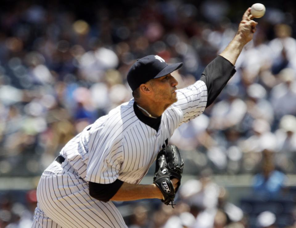 New York Yankees' Andy Pettitte delivers a pitch during the first inning of a baseball game against the Cleveland Indians, Wednesday, June 27, 2012, in New York. (AP Photo/Frank Franklin II)