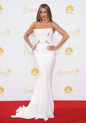 Sofia Vergara arrives at the 66th Annual Primetime Emmy Awards at the Nokia Theatre L.A. Live on Monday, Aug. 25, 2014, in Los Angeles. (Photo by Jordan Strauss/Invision/AP)