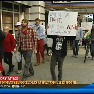 San Diego fast food workers walk off the job