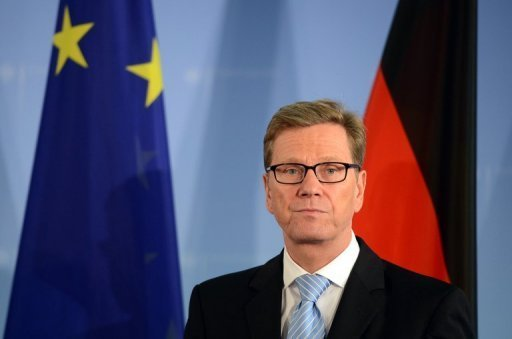 <p>German Foreign Minister Guido Westerwelle, pictured here on October 26, called for a free trade zone between the European Union and North America as an answer to the debt crisis, in an interview published Saturday.</p>