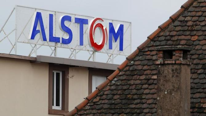 The logo of French power and transport engineering company Alstom is pictured on the roof of the company's plant in Reichshoffen, near Haguenau