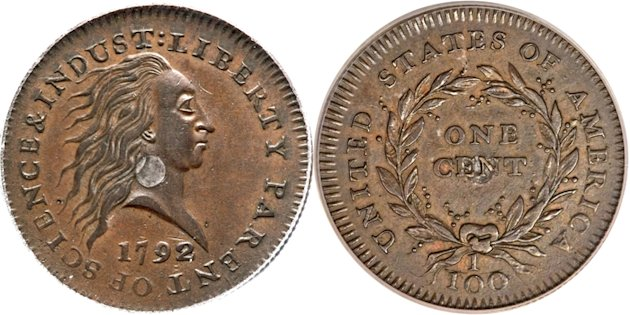 This photo combination made with images provided by Heritage Auctions shows the front and back of a copper and silver 1792 experimental penny that sold at auction in Schaumburg, Ill. on Thursday, Apri