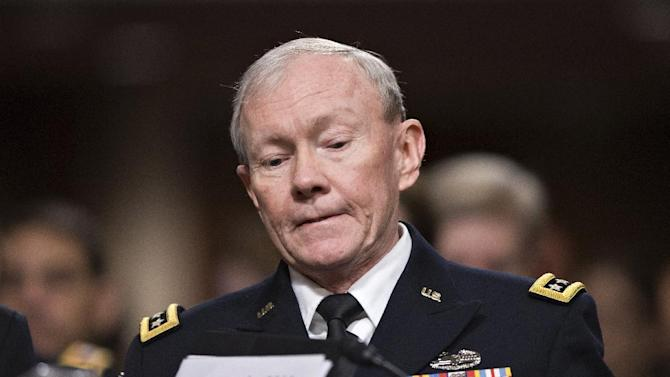 Joint Chiefs Chairman Gen. Martin E. Dempsey testifies on Capitol Hill in Washington, Tuesday, Feb. 12, 2013, before the Senate Armed Services Committee hearing on the looming cuts to the defense budget. (AP Photo/J. Scott Applewhite)