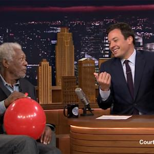 Morgan Freeman Sucks Down Helium on 'Tonight Show'