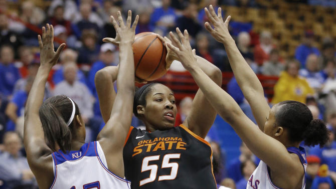 No. 8 Oklahoma State women top Kansas 64-56