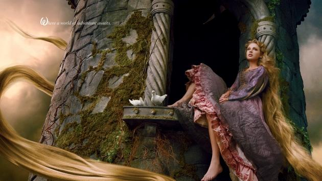 Taylor Swift seen as Rapunzel in a Disney Dream Portrait shot by Annie Leibovitz, 2013 -- Annie Leibovitz/Disney Parks
