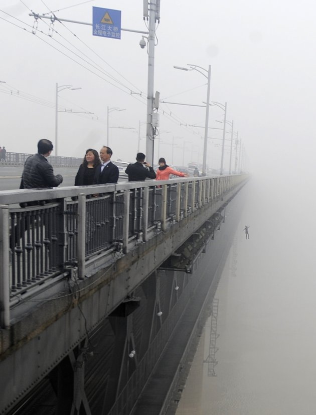 A person jumps off the Wuhan …