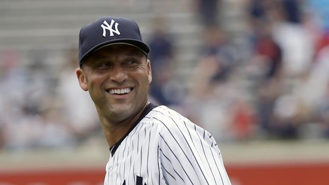 New York Yankees' Derek Jeter warms-up before the baseball game against the Kansas City Royals at Yankee Stadium Thursday, July 11, 2013 in New York. Jeter is rejoining the team for the first time since breaking his left ankle last Oct. 13. (AP Photo/Seth Wenig)