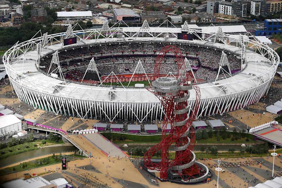 This Friday, Aug. 3, 2012 aerial photo shows the Olympic Stadium and the Orbit during the 2012 Summer Olympics at Olympic Park, in London. (AP Photo/Jeff J Mitchell, Pool)