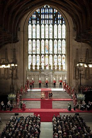 """Britain's Queen Elizabeth II next to her husband The Duke of Edinburgh, sit inside Westminster Hall in London after addressing both Houses of Parliament, Tuesday, March 20, 2012. The Queen celebrated her Diamond Jubilee today by paying tribute to the British virtues of """"resilience, ingenuity and tolerance"""", and to the Duke of Edinburgh, her """"constant strength and guide"""" over the decades. In a landmark address to both Houses of Parliament the monarch repeated her vow made on Accession Day in February to """"rededicate myself to the service of our great country"""". (AP Photo/Ben Stansall, Pool)"""