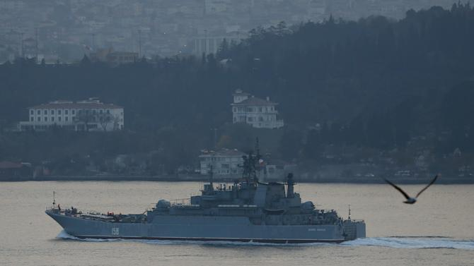 The Russian Navy's large landing ship Caesar Kunikov sets sail in the Bosphorus towards the Black Sea, in Istanbul
