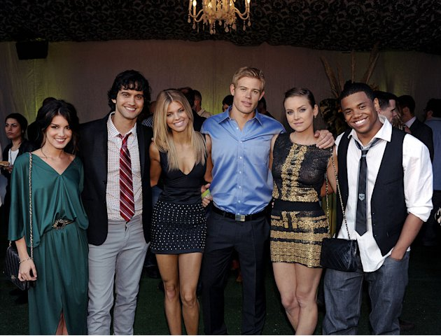 """90210's"" Shenae Grimes, Michael Steger, AnnaLynne McCord, Trevor Donovan, Jessica Stroup, and Tristan Wilds at the TCA Summer 2010 CBS/The CW/Showtime ""Star Party in the Tent"" on July 28, 2010 in Bev"