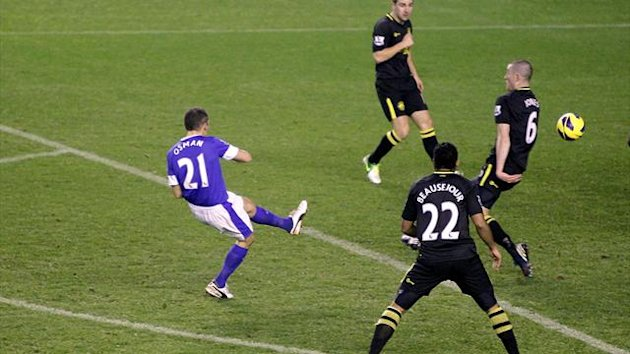 Leon Osman, left, scored the opener as Everton beat Wigan at Goodison