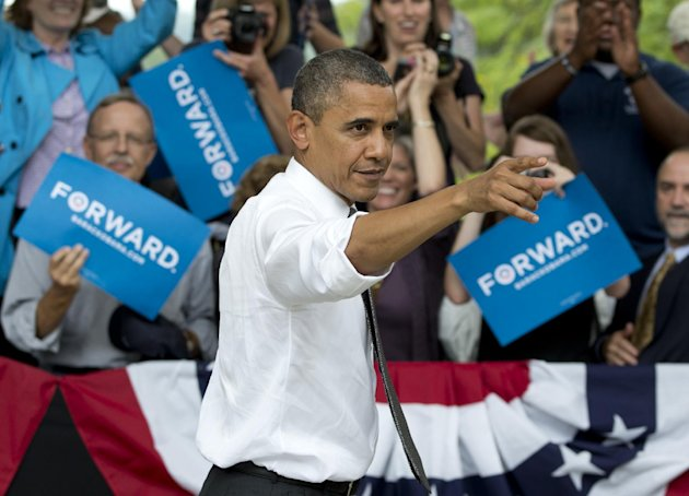 President Barack Obama points to the crowd as he leaves a campaign event at Eden Parks Seasongood Pavilion, Monday, Sept. 17, 2012, in Cincinnati, Ohio. (AP Photo/Carolyn Kaster)