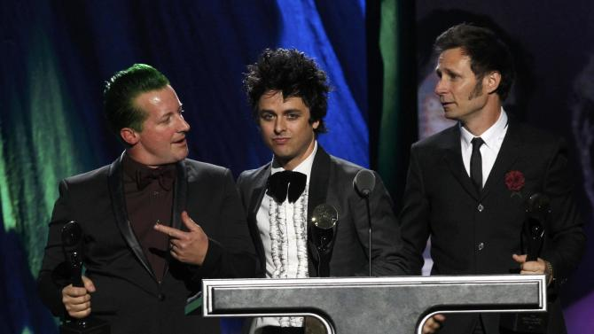 The band Green Day are inducted during the 2015 Rock and Roll Hall of Fame Induction Ceremony in Cleveland