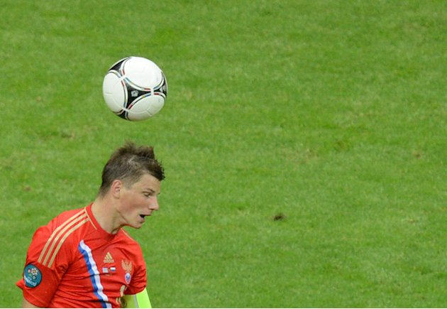 Russian Forward Andrey Arshavin Heads AFP/Getty Images