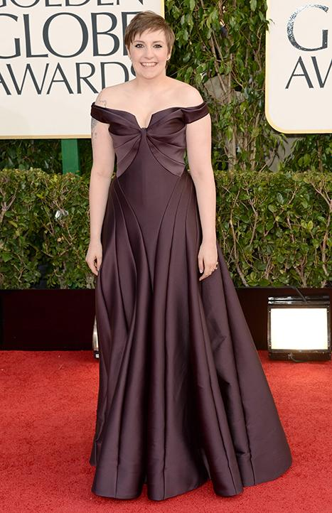 Lena Dunham Looks Glamorous in Zac Posen Gown at Golden Globes 2013