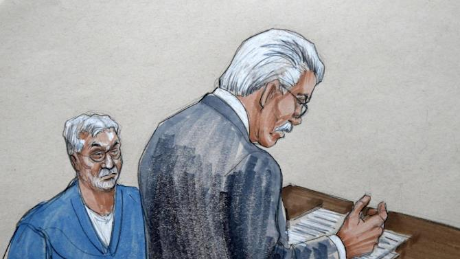 In this courtroom sketch, Drew Peterson, left, watches Will County States Attorney James K. Glasgow during Peterson's sentencing for the 2004 murder of his third wife Kathleen Savio before Judge Edward Burmila at the Will County Courthouse Thursday, Feb. 21, 2013, in Joliet, Ill. Later in the day, Burmila sentenced Peterson to 38 years in prison for the crime. (AP Photo/Tom Gianni)