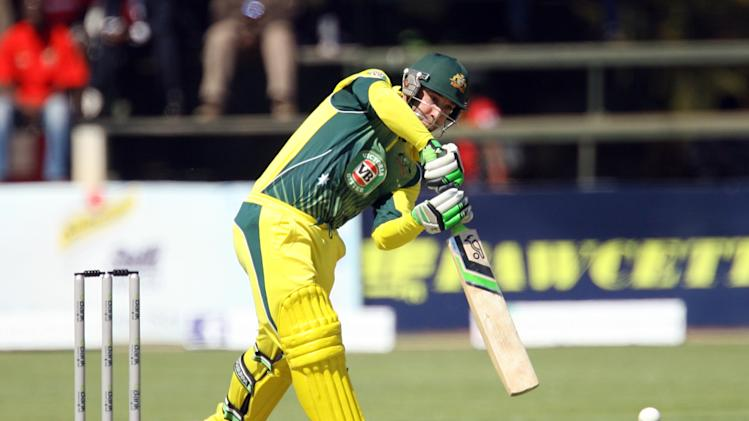 Australia batsman Phil Hughes is in action during the match between Australia and South Africa in the one day international tri-series which includes Zimbabwe at the Harare Sports Club, on August 27, 2014