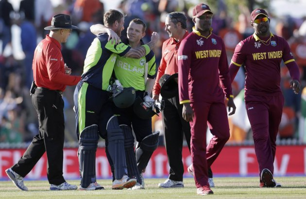 Ireland celebrate after thrashing the West Indies on Monday.