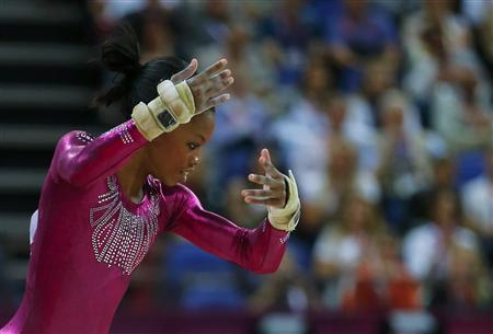 Gabrielle Douglas of the U.S. performs her floor exercise during the women's individual all-around gymnastics final in the North Greenwich Arena at the London 2012 Olympic Games