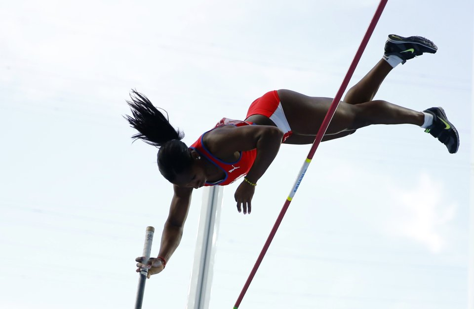 Silva of Cuba competes in the women's pole vault final during the IAAF World Athletics Championships at the Luzhniki stadium in Moscow