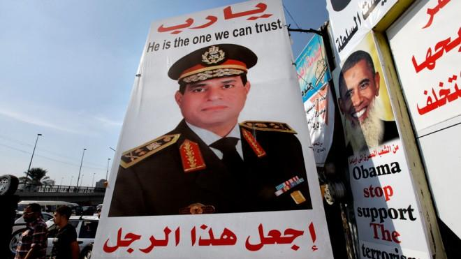 Posters of the general are plastered throughout Egypt.